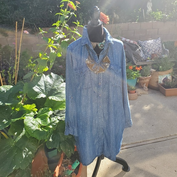 Philosophy Tops - *SOLD* Philosophy chambray dotted tunic, XXL